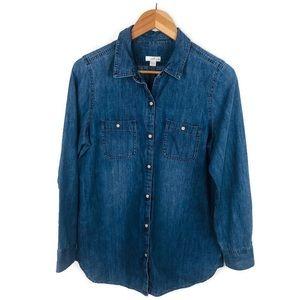 J. Jill Denim Pearl Snap Button Up Shirt